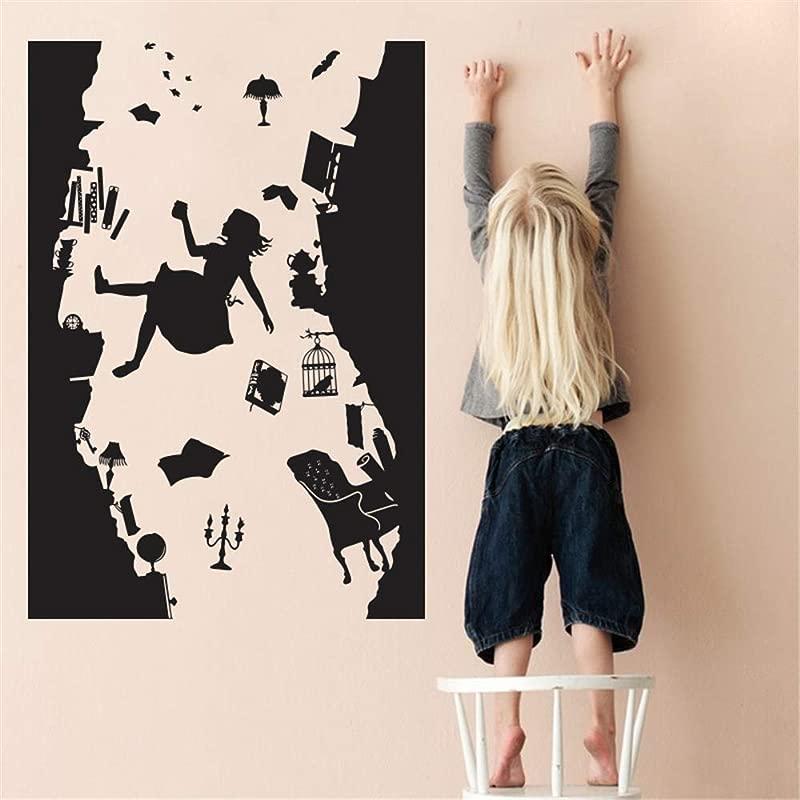 Siehu Alice In Wonderland Wall Sticker Art Vinyl Home Decor Falling Down The Rabbit Hole Wall Decal DIY Removable Cartoon Kids Room