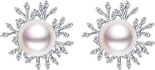 Clearine Women 925 Sterling Silver CZ 9MM Cream Freshwater Cultured Pearl Snowflake Stud Earrings Clear