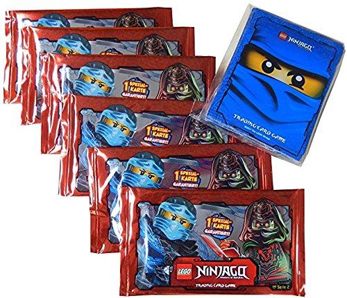 LEGO Ninjago Karten Set: 6 Booster Serie 2 - 6 Pack á 5 Sammelkarten + 30 LEGO Kartenhüllen mit blauem Motiv