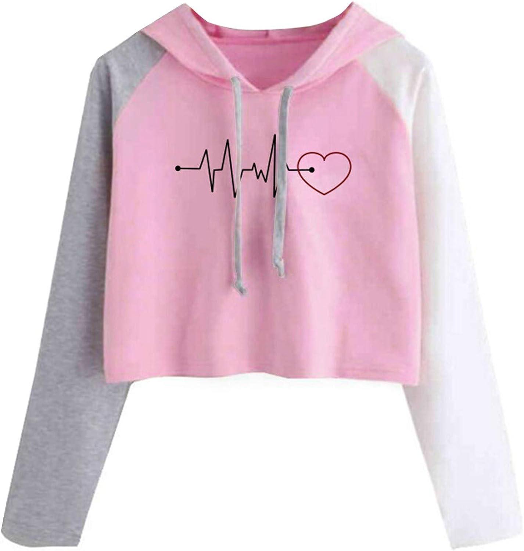 Women's Crop Top Hoodies Teen Girls Colorblock Casual Long Sleeve Cute Sweatshirts PulloverTops Blouse Shirt