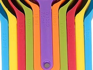 مجموعة اكواب وملاعق بلاستيكية للقياس من 6 قطع. قابلة للتكديس، وتوفر المساحة، بتصميم متعدد الالوان.