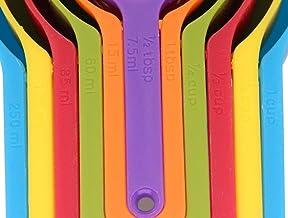 مجموعة أكواب وملاعق بلاستيكية للقياس مكونة من 6 قطع. قابل للتكديس، ويوفر المساحة، وبتصميم متعدد الألوان.