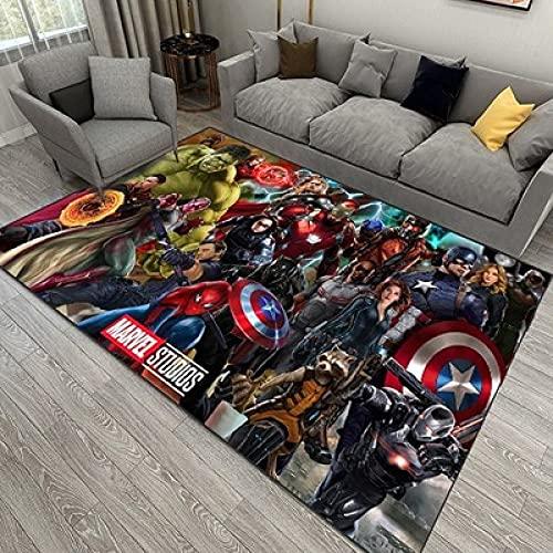 Alfombra Infantil Anime Spider-Man Marvel Avengers Capitán América Héroes Nordic Modern Boys Sala de Estar Alfombra de Entrada 100 * 160cm