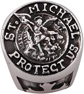Zovivi Detailed Carved St. Saint Michael Stainless Steel Solid Cross Mens Ring