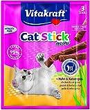 Vitakraft - Snack per gatti Cat Stick® mini pollame e erba per gatti, confezione da 20