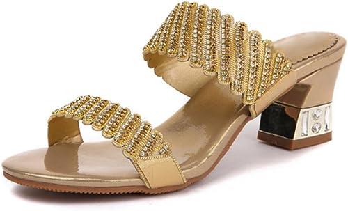 En été, avec le le mot femmes sandales brut de glisser avec strass , or , US6.5-7   EU37   UK4.5-5   CN37  envoi gratuit dans le monde entier
