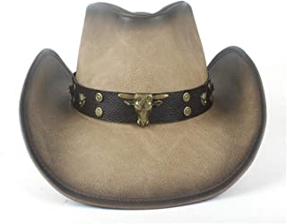 SHENTIANWEI Women Men Western Leather Cowboy Hat with Punk Leather Cowgirl Bull Band for Gentleman Sombrero Hat