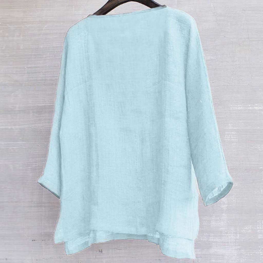 Women Blouse Fashion Loose Plus Size Loose Linen Short Sleeved Shirt Vintage Blouse Tank Tops for Women