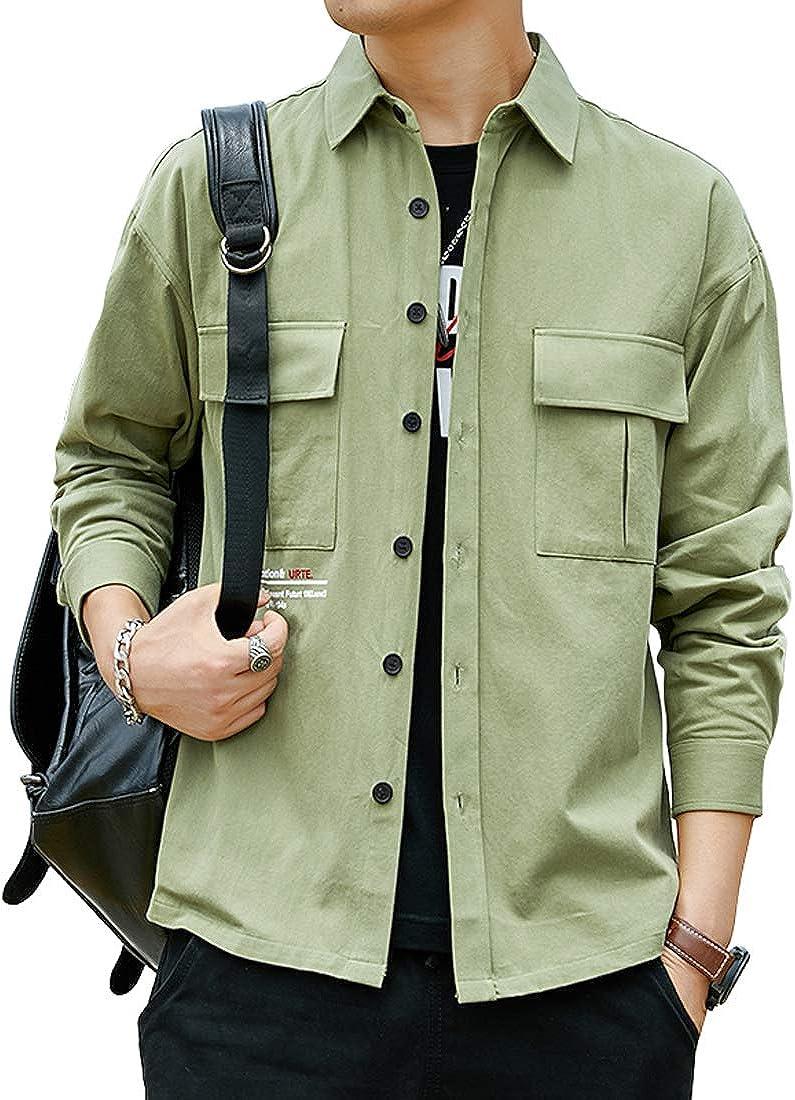 utcoco Men's Casual Cotton Long Sleeve Flap Pocket Plain Tactical Cargo Work Shirt Outwear