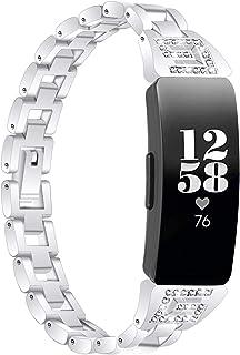 Pulsera Inspire 2, Miya System Ltd Pulsera de Acero Inoxidable con Joyas Brillantes Bandas de Reloj de Repuesto con Diaman...