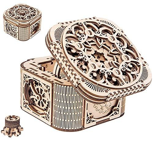 OHHCO Caja Modelo 3D montada a Mano, Organizador de la joyería de Madera Maciza, Caja de joyería Hecha a Mano para Accesorios de Pendiente de Anillo Gemstone Antiguo Regalo Unisex