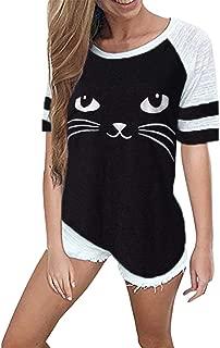 refulgence Women Cat Print T Shirt tee Shirt Fashion Short Sleeve Tops