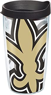 Tervis 1271124 NFL New Orleans Saints Colossal Tumbler with Wrap and Black Lid 16oz, Clear