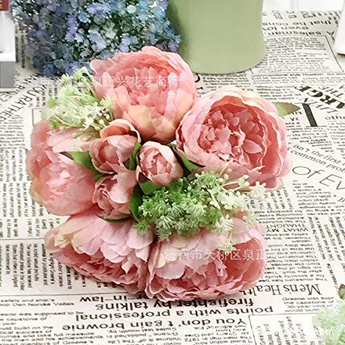 MLLULLBraut houdt bloemen hand pioenroos boeket bruid houdt boeket kern pioenroos kunstbloem bruiloft decoratie @ peach poeder