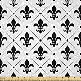 Ambesonne Fleur De Lis Fabric by The Yard, French Culture Inspired Motifs Dotted Lines Medieval Design Floral Pattern, Microfiber Fabric for Arts and Crafts Textiles & Decor, 1 Yard, Charcoal