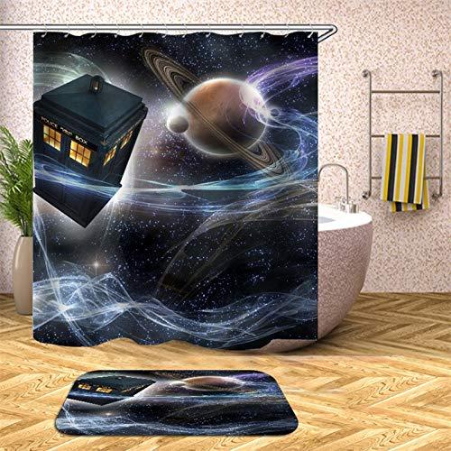 XCBN Cortina de Ducha de Tierra en el Universo para baño, Tela Impermeable, Pantalla de decoración de bañera, antiespía A23, 150x180cm