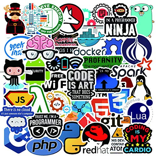 Cute Laptop Stickers Pack, Developer Programming Stickers for Developers, Coders, Programmers, Hackers, Geeks, and Engineers, Cool Stickers for Skateboard Scooter Helmets Water Bottle Phone(50Pcs)
