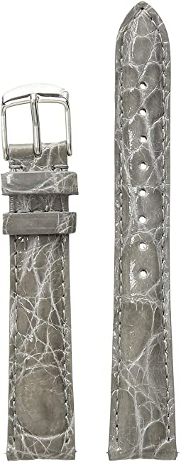 16mm Leather Strap Crocodile Grey