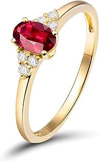 Daesar Anello Oro Giallo Donna 18K,Anelli di Fidanzamento Anello Fascia con Rubino 0.5ct Anelli Oro Giallo