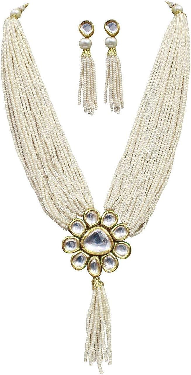 Babosa Sakhi Traditional Kundan Pearl Beads Long String Woman Necklace Jewellery Set