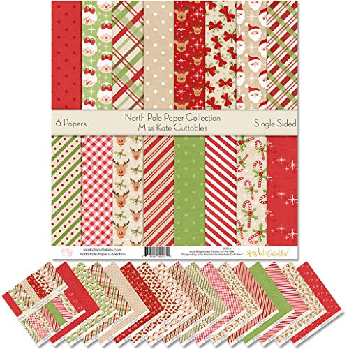 Pattern Paper Pack - North Pole - Scrapbook Premium Specialty Paper Single-Sided 12'x12' Collection Includes 16 Sheets - by Miss Kate Cuttables