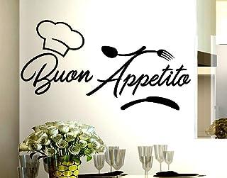 Adesivi Murali frasi Cucina buon appetito cappello cuoco posate scritte italiano wall stickers kitchen decorazione casa da...