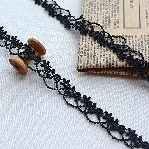 DAHI spitzenband 15 Yard Spitzenborte Ätze Spitze für Choker Halsketten Nähen Handwerk Hochzeit Deko Scrapbooking Geschenkbox (D-schwarz)