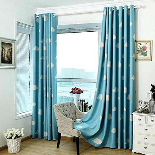 MYRU 1 Pair Blue and White Cloud Semi-Blackout Curtains for Boys Kids Children Nursery Room Bedroom (Blue, 2 x 39x84 Inch)