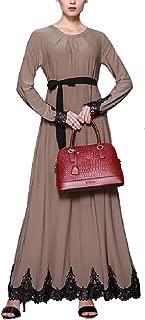 neveraway Women Long Sleeve Islamic Kaftan Gown Classy Muslim Abaya Dress