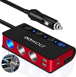 OOWOLF Adaptador De Encendedor De Cigarrillos Carga Rápida QC3.0, [7 en 1] 4 Puertos USB y 3 Puertos Cargador Coche USB 12...