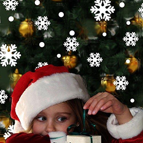 LLonGao Fenstersticker Weihnachten Weihnachten Schneeflocke Bild Aufkleber PVC-Aufkleber Wasserdicht Abnehmbar Fenstersticker Winter DIY Aufkleber Dekor für Türen, Schaufenster und mehr