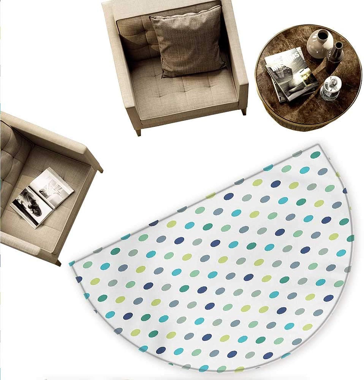Polkadot Half Round Door mats Polka Dots Retro Classy Vintage Fabric Pattern Design Style Bathroom Mat H 78.7  xD 118.1  Apple Green Dark bluee Jade Green