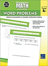 Singapore Math – Challenge Word Problems Workbook for 4th, 5th, 6th Grade Math, Paperback, Ages 9–10 with Answer Key