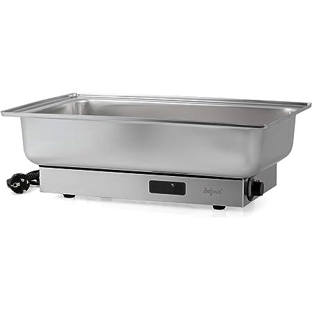 Zelsius Chafing Dish électrique en acier inoxydable pour GN 1/1   9 litres   jusqu'à 80°C avec écran   Chauffe-plat pour buffet, restauration, gastro et party