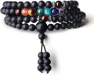 108 Mala Beads Matte Onyx 7 Chakra Bracelet Necklace