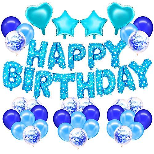 HusDow 71 stuks verjaardagsdecoraties voor jongens, Happy Birthday Foil Banner 40 stuks latex balloons van 12 inch en 10 stuks blauwe confetti balloons met 4 stuks balloons koorden voor verjaardagsfeestjes