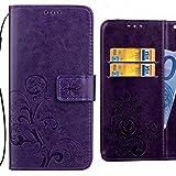 Ougger Custodia per Huawei P20 Lite Cover, Foglie Fortunate Portafoglio PU Pelle Magnetico Morbido Silicone Flip Protettivo Custodie Cover per Huawei P20 Lite con Slot per Schede (Porpora)