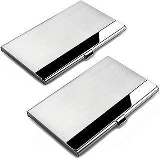 SENHAI - 2 unidades de soportes para tarjetas de visita profesional, color Stainless steel cover