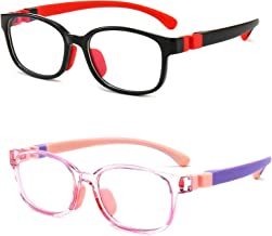 Blue Light Glasses Kids, Blue Light Blocking Glasses for Kids Transparent Frame TR90 Flexible Strap Anti-Eyestrain Headache and UV Glare 2 Pack Age 3-12 (Transparent Pink+Black Red)