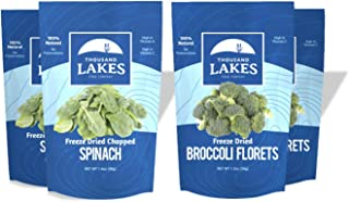 Thousand Lakes Freeze Dried Fruits and Vegetables - Broccoli Florets & Spinach 4-pack | 100% Veggies | No Salt Added