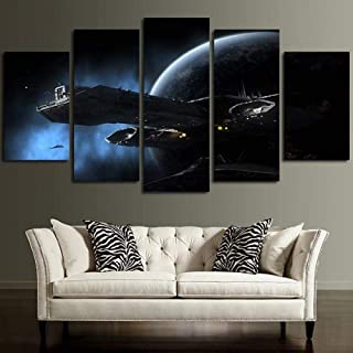 WLHWLH Hd Print Canvas Painting Home Decorative Work Modular Picture 5 Panel Stargate Spaceship Park Landscape Poster-Framed