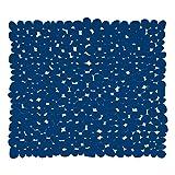MSV 140890 - Tappetino per Vasca da Bagno, in PVC, Effetto a ciottoli, 53 x 53 x 0,1 cm, Colore: Blu Scuro