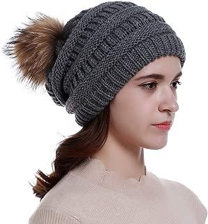 Womens Winter Knit Slouchy Beanie Hats Oversized Chunky Faux Fur Pom Pom Hat Bobble Hat Ski Cap for Girls