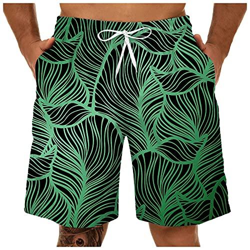 FANGTION Men's Swim Trunks Quick Dry Beach Shorts with Zipper Pockets and Mesh Lining Surfing Beach Shorts Swimsuit Green 10 XL