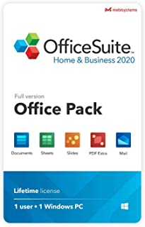 OfficeSuite Home & Business 2020 – full license – Compatible with Microsoft® Office Word, Excel & PowerPoint® and Adobe PDF for PC Windows 10, 8.1, 8, 7 (1PC/1User)