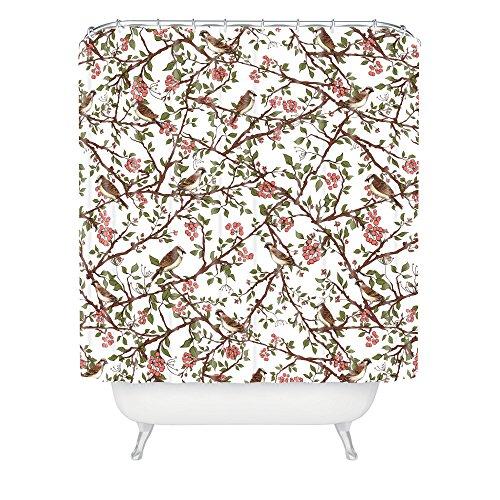 Deny Designs Belle13 Duschvorhang, Spatzenbaum auf einem Frühlingstag, 175,3 x 182,9 cm