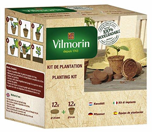Vilmorin 3990624 3990624 Pack Godets 6 cm + 12 Pastilles Fibre de Coco Compressée, Marron