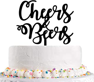 Karoo Jan Black Cheers Beers Cake Topper -Happy Birthday Cake Topper - Oh Baby- Happy Wedding Party Supplies Decor
