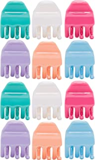 RC ROCHE ORNAMENT 12 Pcs Womens Criss Cross 3 Claw Hair Clips Secure Strong Hold No Slip Jaw Teeth Accessories Accessory Girls Ladies Plastic Fashion, Medium Pastel Multicolor