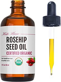 Best Rosehip Seed Oil by Kate Blanc. USDA Certified Organic, 100% Pure, Cold Pressed, Unrefined. Reduce Acne Scars. Essential Oil for Face, Nails, Hair, Skin. Therapeutic AAA+ Grade. (1 fl oz) Review